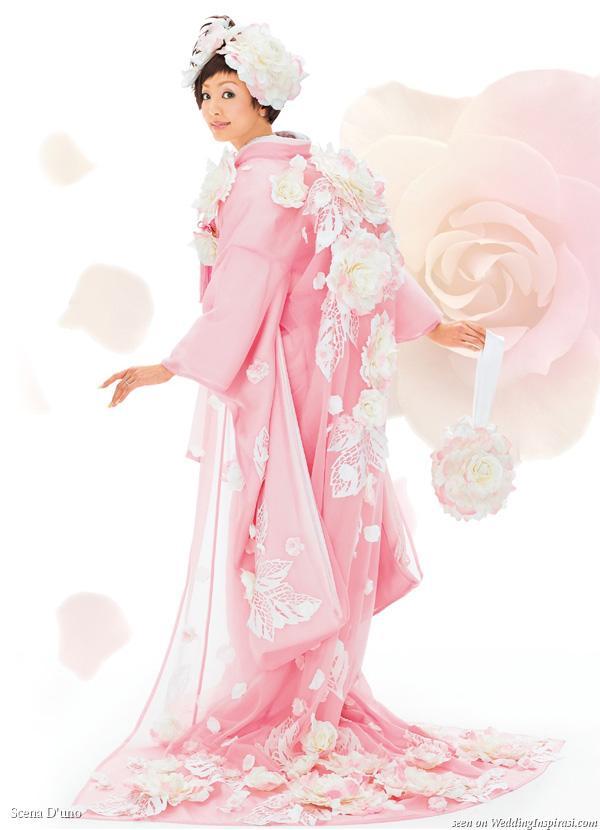 Pink Japanese Wedding Floral Kimono