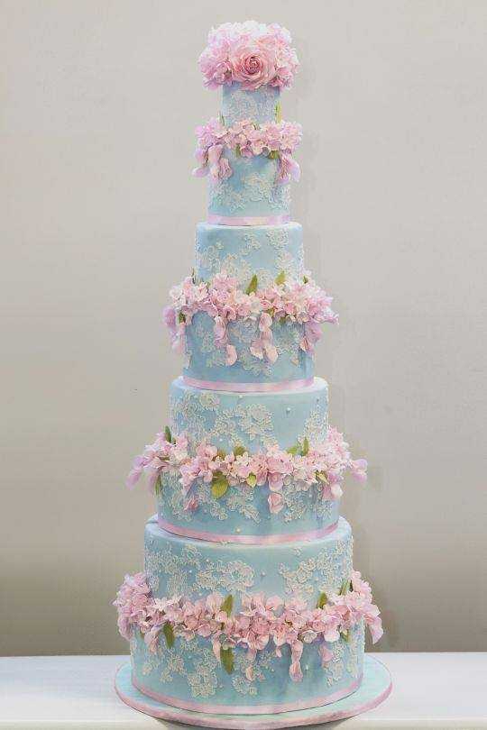 8-Tier Duck Egg Blue Corneli Lace Cake with Pink Sugar Flowers