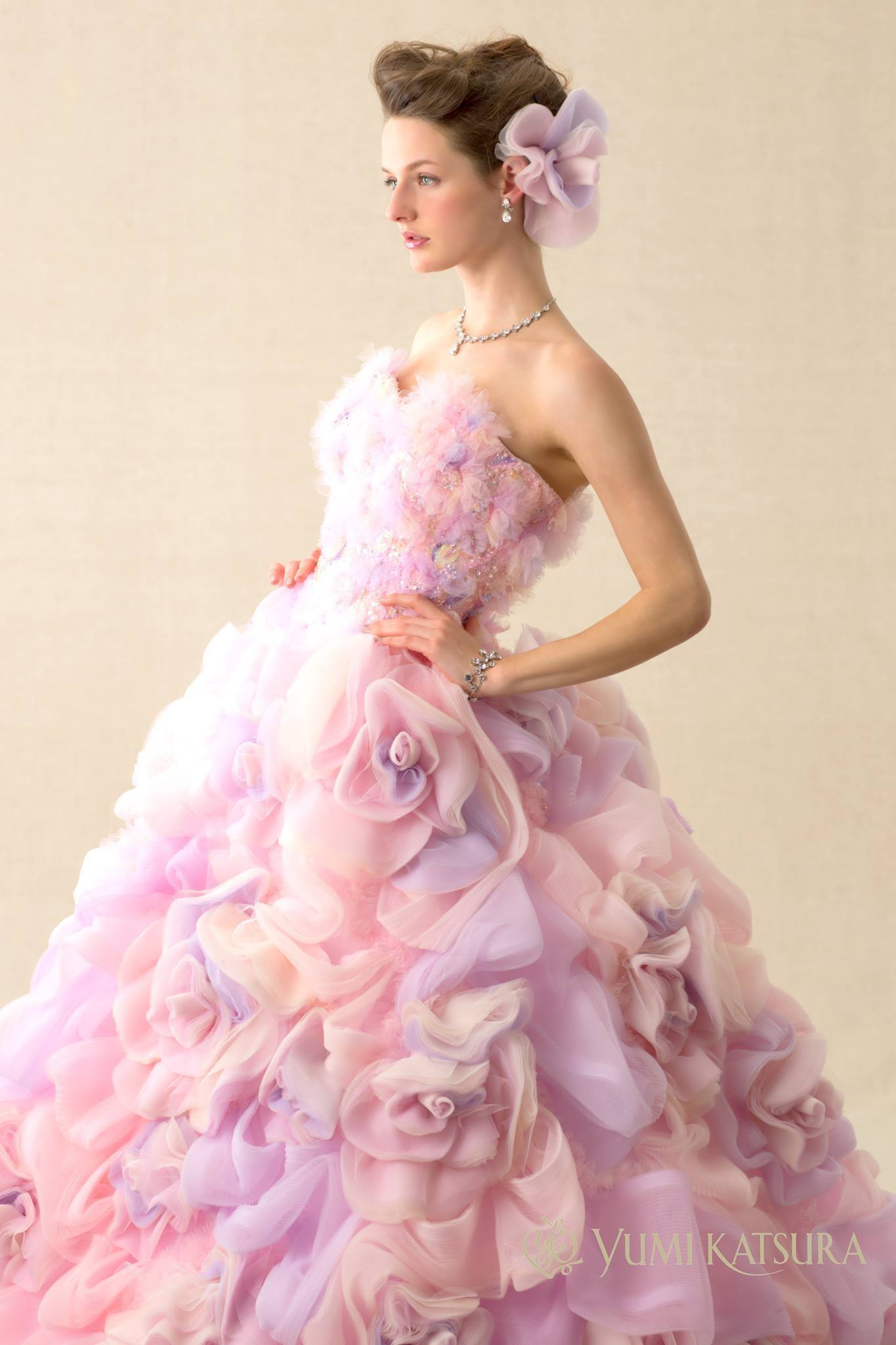 Japanese ruffled wedding dresses for Pink ruffle wedding dress