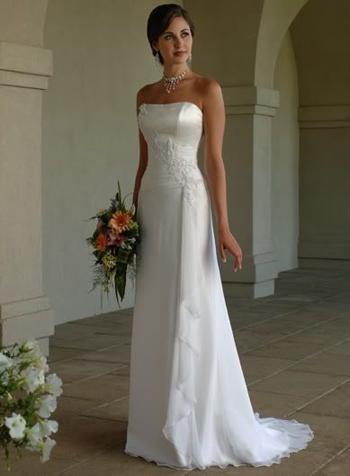 Chiffon Strapless Empire Sweet Train Appliques Draping Ruffles Wedding Dress