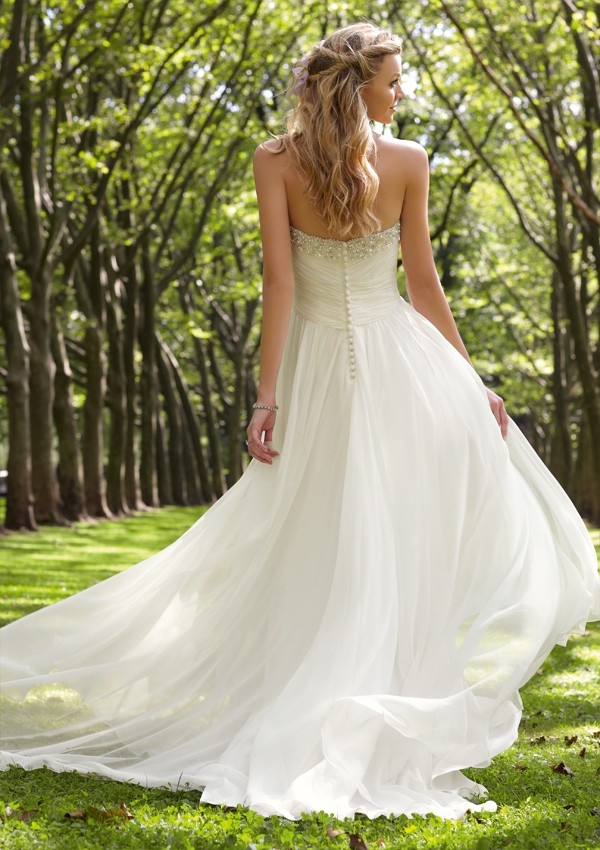 Chiffon Bateau Empire Floor Length Button Back Sleeveless Criss Cross Wedding Dress