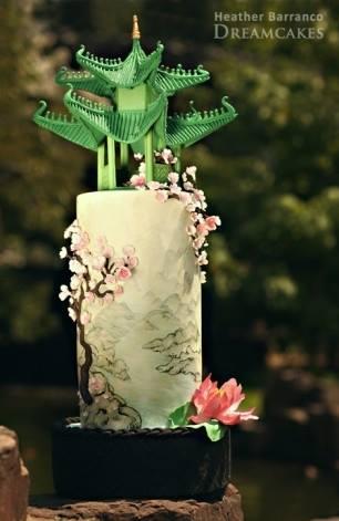 Chinese Pagoda and Pink Lotus Wedding Cake