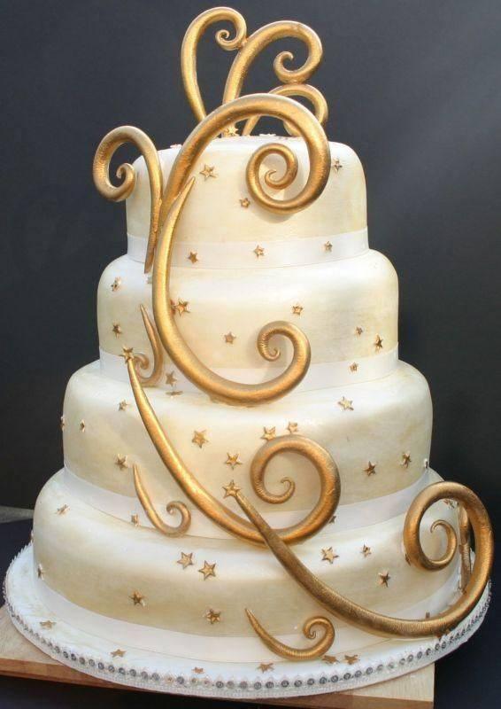 Golden Stars Wedding Cake