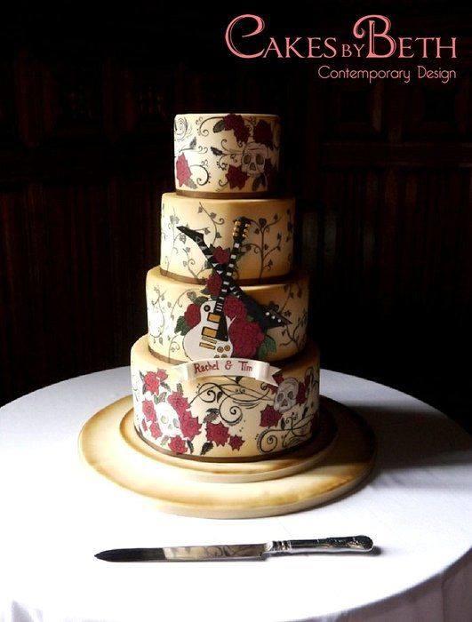 Love Rocks Tattoo and Guitar Wedding Cake
