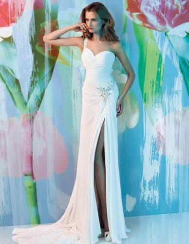Column Wedding Dress with Long Side Slit