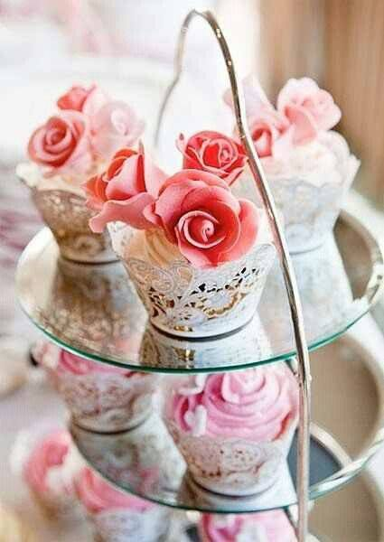 Shabby Tea Tray with Paper Lace Wrapped Teacakes
