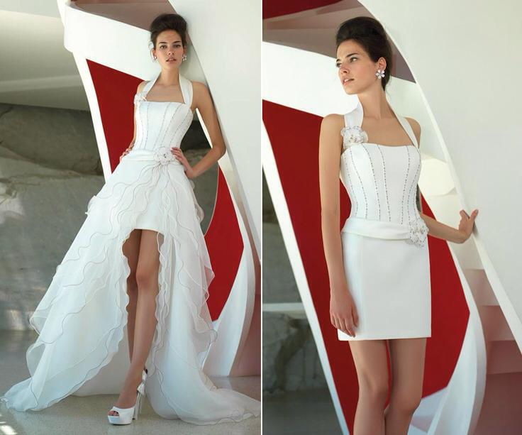 White Dual Wedding Dress With Short and Long Skirts Options
