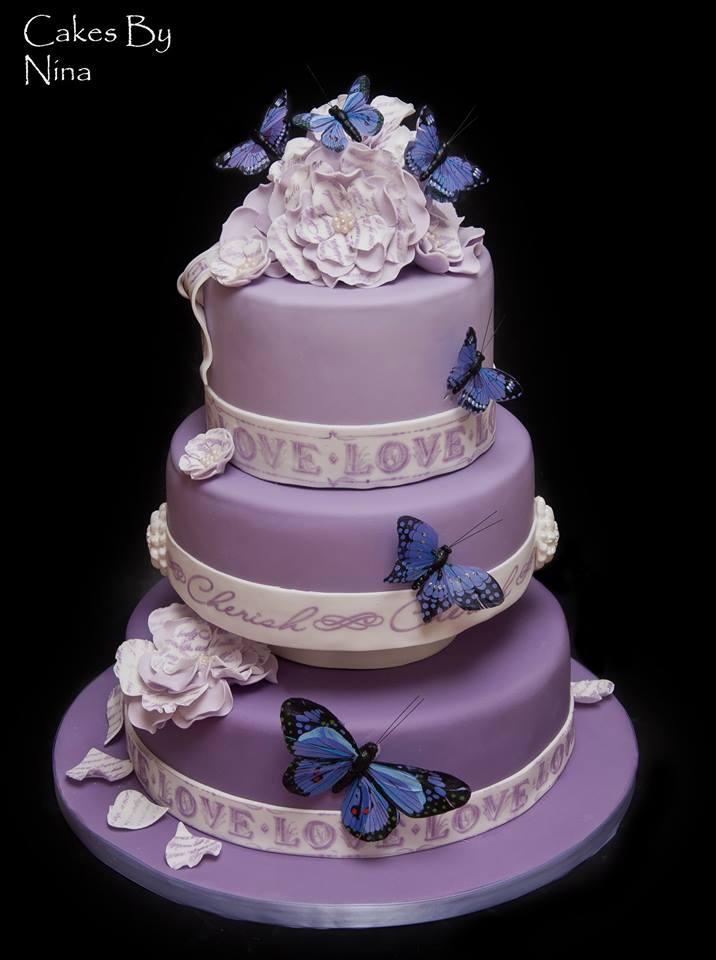 Purple Butterfly Love wedding cake