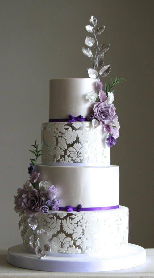 floral purple wedding cake