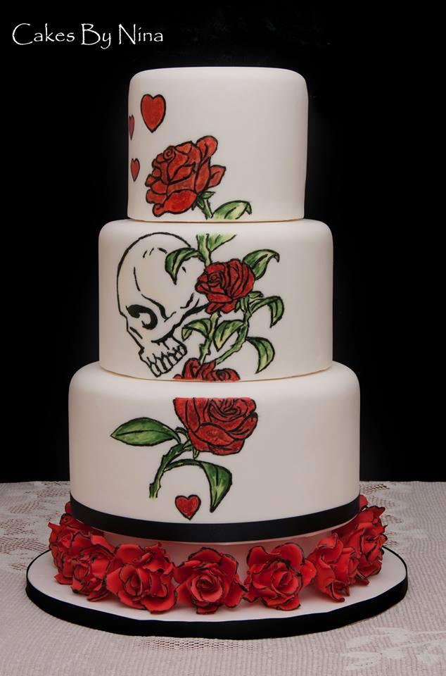 tatooed wedding cake